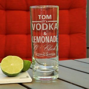 Personalised Engraved Vodka and Lemonade O'Clock Drinks Glass
